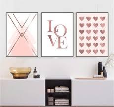 printable wall art set of 3 rose gold