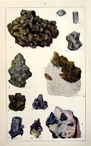 Sulfide Minerals 1930 Vintage Sulfide Minerals Color Print Antique Crystals Etsy