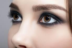 closeup macro shot of human female face woman with natural evening vogue face beauty makeup