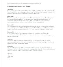 Letters Of Recommendation Personal Personal Recommendation Letter For Employment A Job