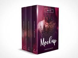 3 book box set psd mockup without the box