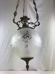 bronze lamp with frosted glass lampshade and hand carved pattern france 2nd half