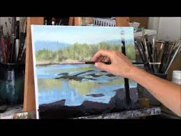 acrylic river and trees landscape painting demo reflecting part 1 you