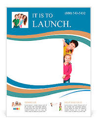 Beautiful Fun Family Behind A White Blank Flyer Template Design Id