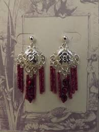 silver plated domed fillagree with red carmen crystal seed bead chandelier earrings