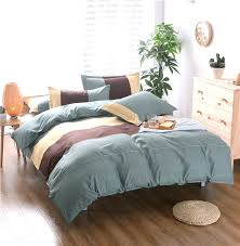chocolate brown and blue duvet covers home textilue brown gray stripe style bedding sets 2 3pcs
