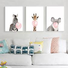 animal koala giraffe zebra canvas poster nursery wall art print baby room decor on childrens room wall art with animal koala giraffe zebra canvas poster nursery wall art print baby