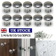 Silver Round Chrome Metal Door Knobs Drawer Wardrobe Kitchen