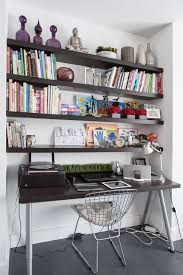 beautiful floating shelves above desk home office with open shelving purple glass purple glass with shelves over desk