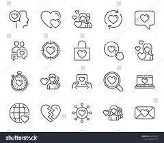 Love Line Icons Couple Romantic Heart Stock Vector 696724669