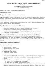 Class Agendas Lesson Plan How To Write Agendas And Meeting Minutes Tabitha Hart