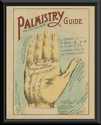 Palmistry Palm Chart Reprint On 90 Year Old Paper Psychic