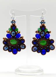 blue green brown crystal chandelier mosaic earrings