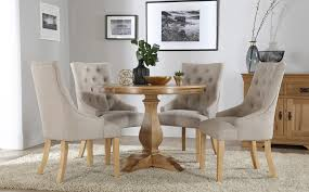cavendish round oak dining table and 4 fabric chairs set duke with designs 16