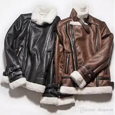 pilot leather er jacket winter lined vintage avirex fly b3 flight men suede coat with fur collar brown black