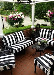 est patio furniture outdoor furniture black white stripes chair with black metal frame