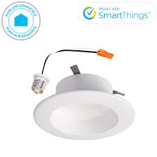 white wireless smart integrated led recessed ceiling light fixture trim with