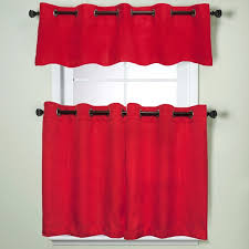 sweet home collection red textured kitchen tier or valance parts with grommets