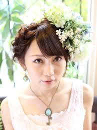 結婚式パーティー編みこみヘアアレンジフラワーヘアアレンジメントの
