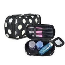 dot impermeables necessaries estuche de maquillaje portátil organizador bolso cosmético con espejo almacenaje del