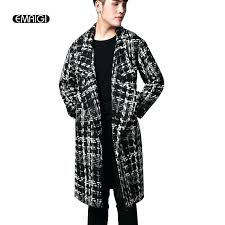 mens wool long coat whole wool winter thick warm long coat brand men plaid jacket male