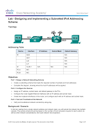 Designing And Implementing A Subnetted Ipv4 Addressing Scheme Answers 9 2 1 3 Lab Designing And Implementing A Subnetted Ipv4