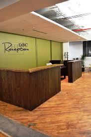 details custom reception desk 45 height reclaimed hemlock vertical 2 threshing floor board walls black stain on threshfloor walls premium