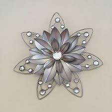 >stunning rustic 30cm flower diamante jewelled 3d metal wall art  stunning rustic 30cm flower diamante jewelled 3d metal wall art decor