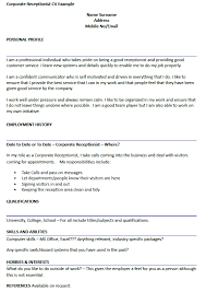 Interesting Cv For A Receptionist Agreeable Corporate Cv Example