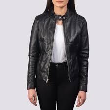 women s kelsee black leather biker jacket 3