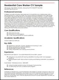 Cv Template For Care Assistant Residential Care Worker Cv Sample Myperfectcv
