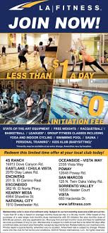 join now la fitness vista ca