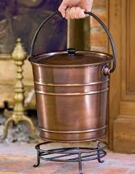 ash bucket with lid copper ash bucket with lid fire place accessories hearth metal stand coal