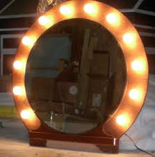 mirror vanity with lights wood
