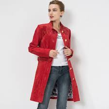 women s genuine leather jacket red trench coat leather jackets