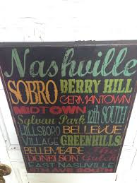 Nashville Sign Decor Nashville Tennessee City Areas Typography Sign On Wood Music City 72