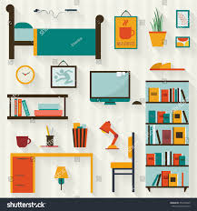 creative furniture icons set flat design. single young man or teenager room interior with furniture icon set flat style vector illustration creative icons design
