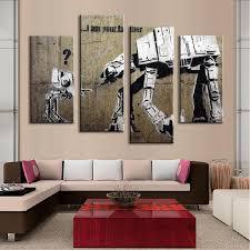 Modny motyw na obrazie i am your father by banksy sprawi, że szczególnie polecamy go do pomieszczeń urządzonych w modnym, skandynawskim stylu. I Am Your Father Banksy 4 Piece Panel Art