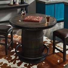Wood barrel furniture Wine Room Renick Barrel Pub Table Slo Pest And Termite Wine Barrel Pub Table Wayfair