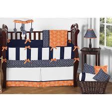 sweet jojo designs arrow 9 piece crib bedding set in navy white and orange for nursery