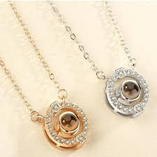 plated 925 sterling silver rose gold pendant 100 ages i love you heart shaped diamond