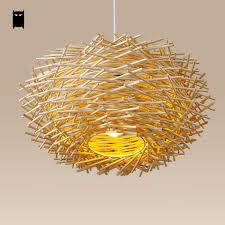 asian pendant lighting. Wicker Rattan Nest Pendant Light Fixture Asian Hanging Ceiling Lamp Dining Room #Soleilchat #Asian Lighting
