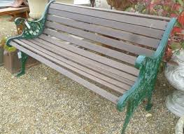 cast iron end and wood garden bench bench