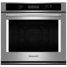 kitchenaid 30 in single electric wall oven self cleaning with convection in stainless steel