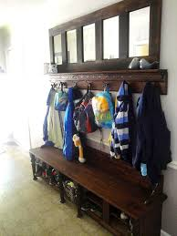 Entry Storage Bench With Coat Rack Awesome Mudroom Storage Bench Made From Kitchen Cabinets Hometalk