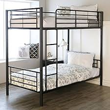 metal bunk bed. Sturdy Metal Twin-over-Twin Bunk Bed In Black Finish D