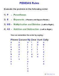 pemdas rules handout order of operations worksheets