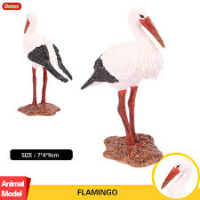 Charming Oenux Lifelike Flamingo Crane Bird Figurines Model Solid PVC Animals Action  Figures Collection Educational Toys For