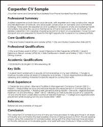 General Professional Summary For Resume Carpenter Cv Sample Myperfectcv