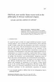 old gods new worlds some recent work in the philosophy of african philosophy african philosophy